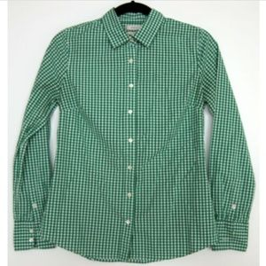 New J.Crew Stretch Perfect Green Gingham Shirt XS